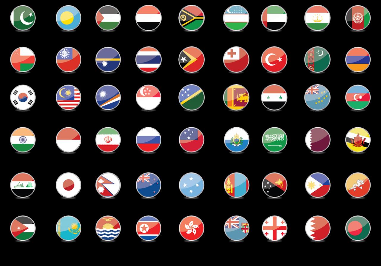 أعلام الدول الآسيوية