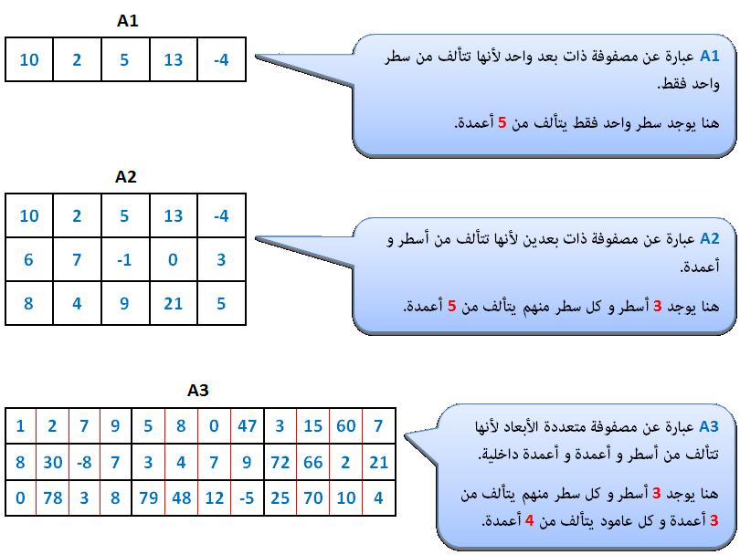 أنواع المصفوفات في الحاسوب